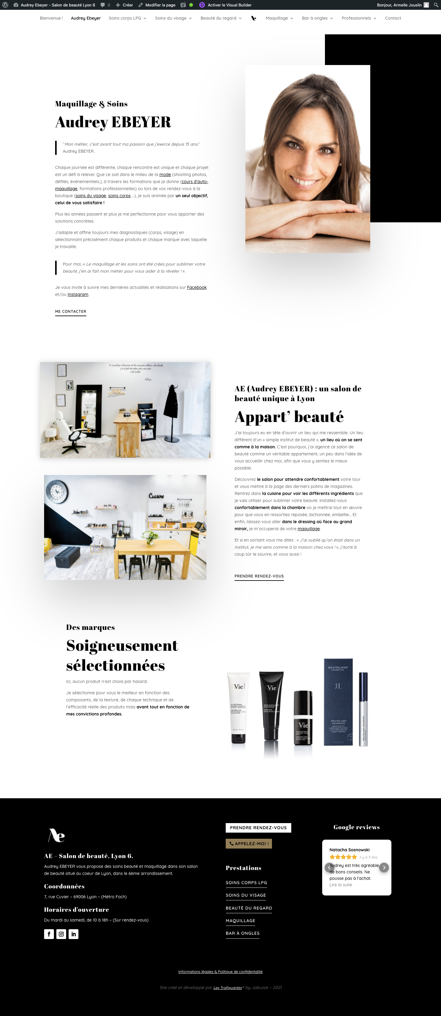 page Audrey Ebeyer du site web AE Maquillage