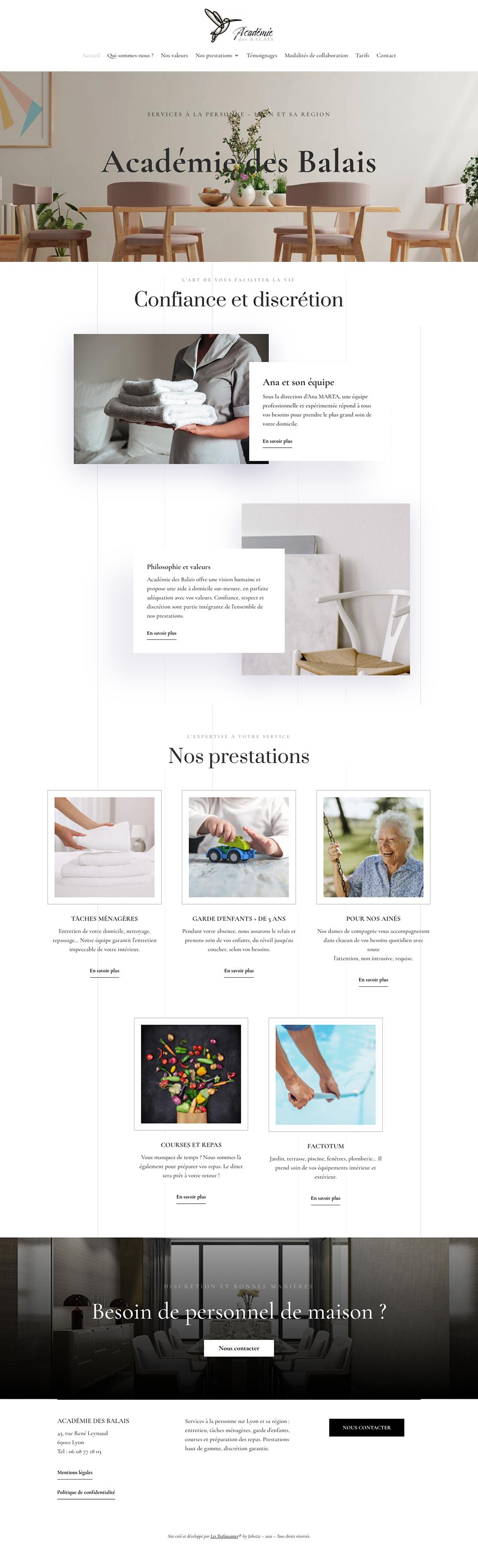 creation site web et logo academie des balais